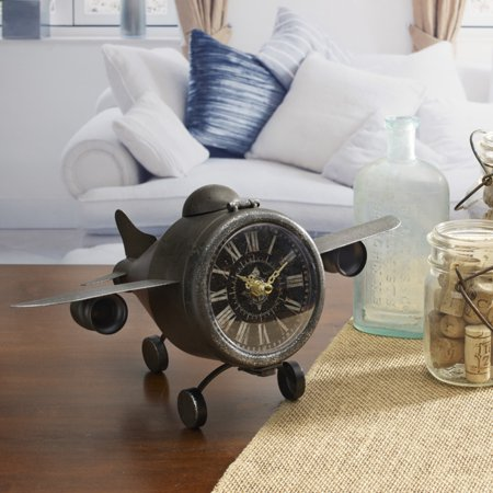 Jet Airplane Clock (Elements 7 Inch Metal Whimsical Airplane Table)