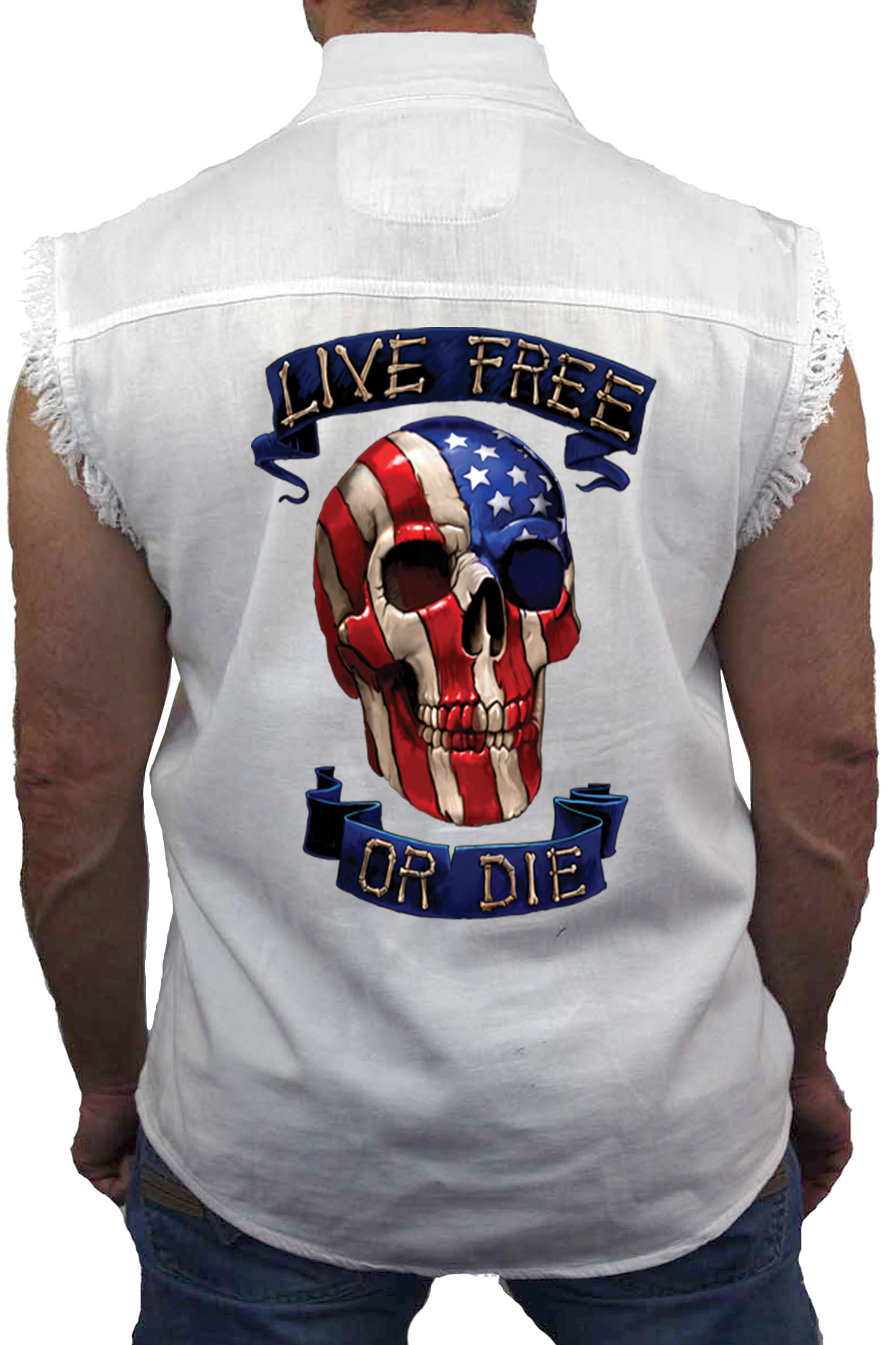 SHORE TRENDZ Mens Camo Sleeveless Denim Shirt Patriotic USA Flag Skulls Denim Vest