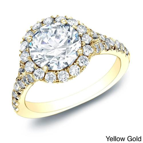 Auriya 14k Gold 1 1/2ct TDW Certified Diamond Halo Engagement Ring (H-I, SI1-SI2) Yellow - Size 4