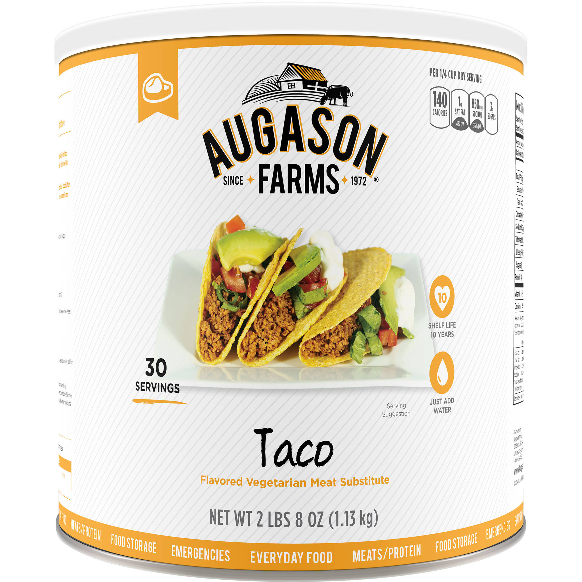 Augason Farms Emergency Food Taco Vegetarian Meat Substitute, 40 oz