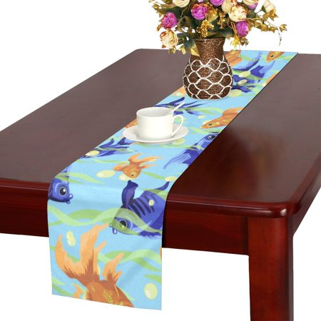 YUSDECOR Fish Table Runner for Office Kitchen Dining Room Wedding Party 16x72 inch - image 2 of 4