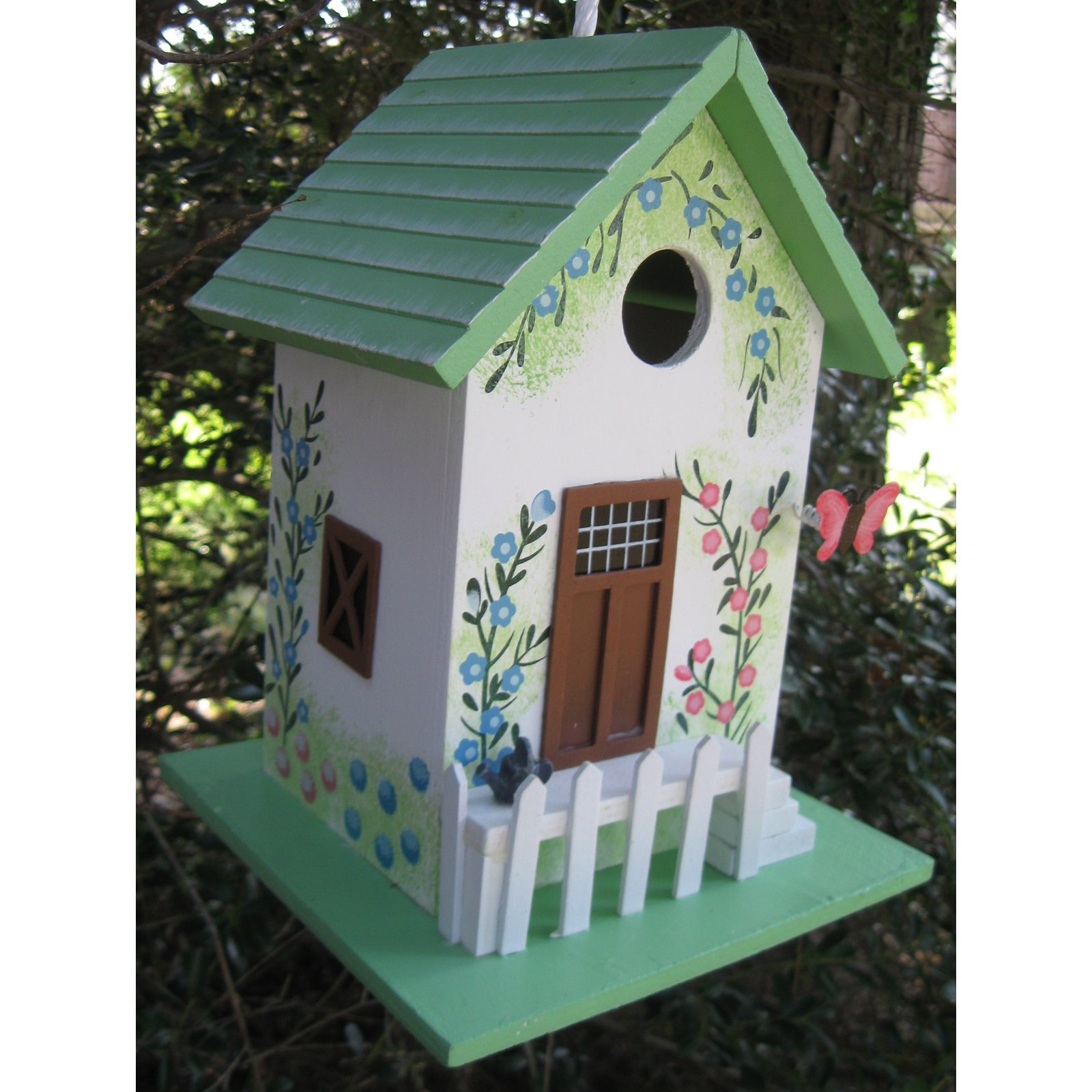 Home Bazaar Butterfly Cottage Birdhouse Green by Home Bazaar Inc.