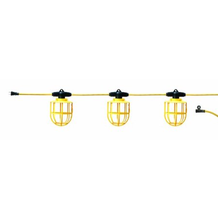 50 Ft Temporary Light String, Linkable Constuction Job Site Lighting