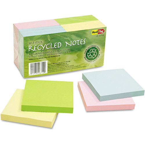 "Redi-Tag 100 Percent Recycled Notes, 3"" x 3"", 4 Colors, 12ct 100-Sheet Pads"