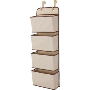 Delta Children 4-Pocket Organizer, Beige Storage Organization Easily Hangs Over Any Door or On the Wall BEIGE by