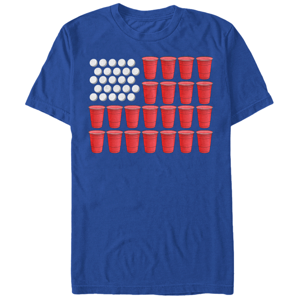 Lost Gods Fourth of July Beer Pong American Flag Mens Graphic T Shirt by Fifth Sun
