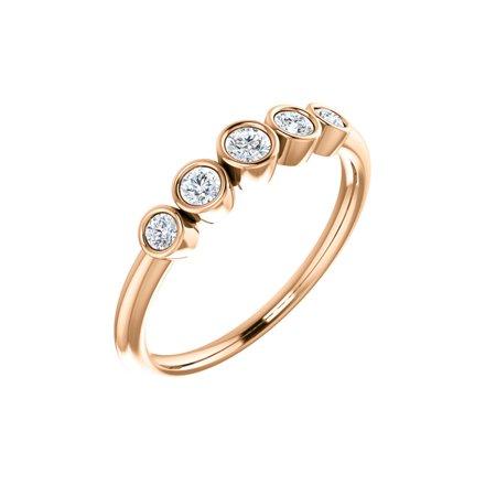 14k Rose Gold 1/4 Ct Diamond Graduated Bezel Set Right Hand Ring