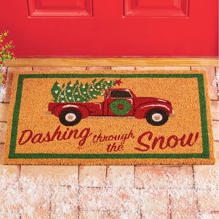 Christmas Vintage Truck Coco Mat - Decorative Holiday Accent for Porch or Deck ()