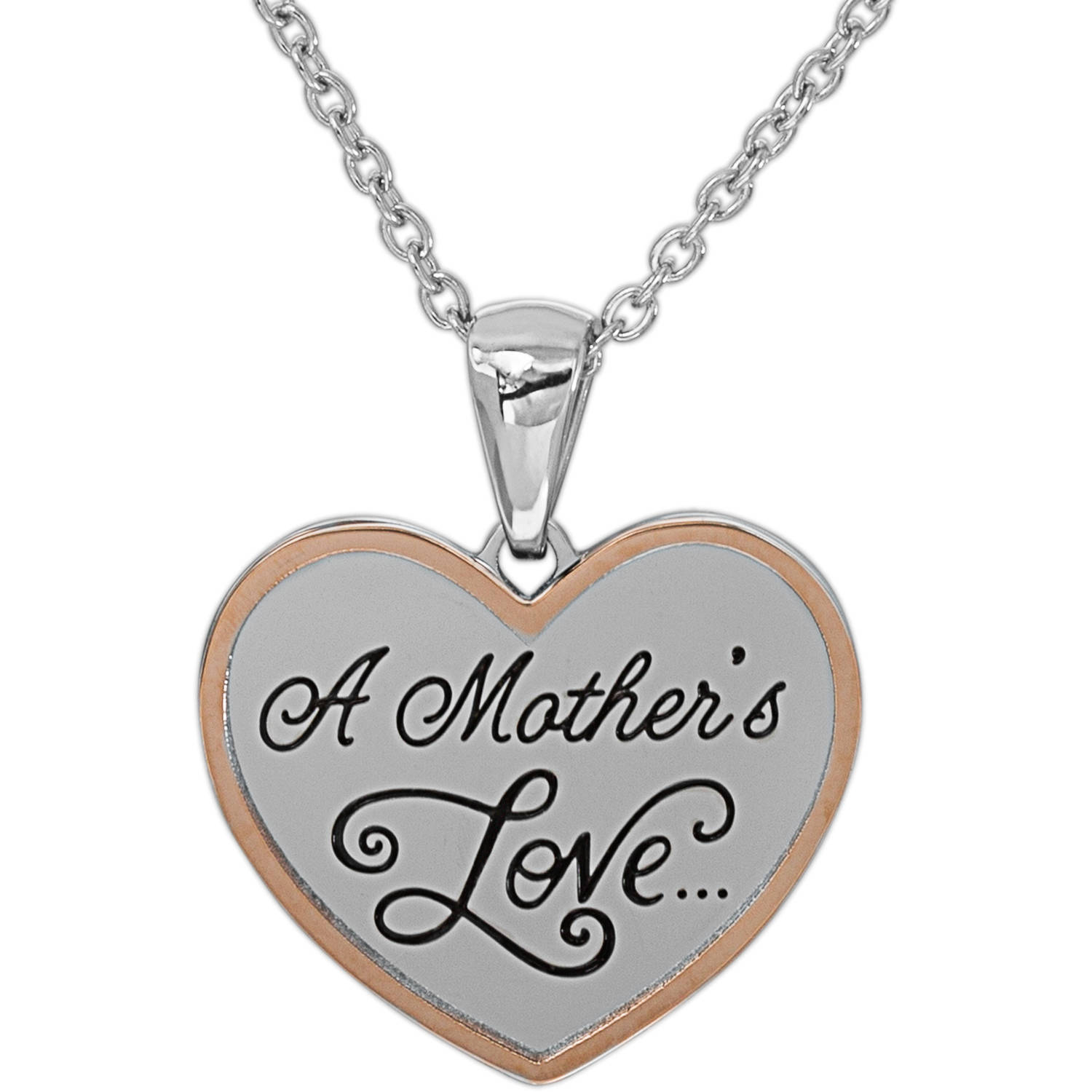 "Connections from Hallmark Stainless Steel Two-Toned ""A Mothers Love"" Pendant, 18"" with 2"" Extender Chain"