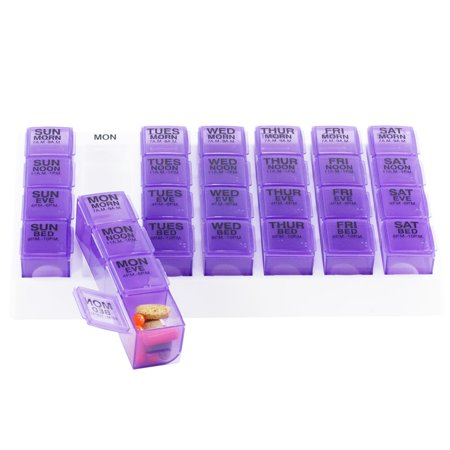 GMS Four-a-Day Weekly Medication Organizer - Large (Purple Pill Boxes in White Tray)