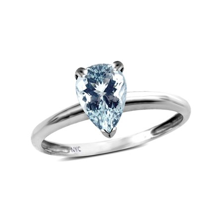 Star K Classic V prong Solitaire 8x6 Pear Shape Genuine Aquamarine Engagement Promise Ring (March Birthstone Promise Ring)
