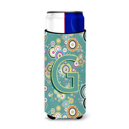 Letter G Circle Circle Teal Initial Alphabet Ultra Beverage Insulators for slim cans CJ2015-GMUK