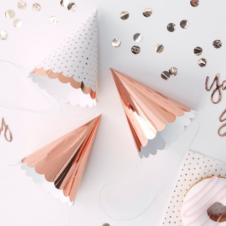 Ginger Ray Rose Gold Assorted Scalloped Party Hats (6) - Rays Party Store