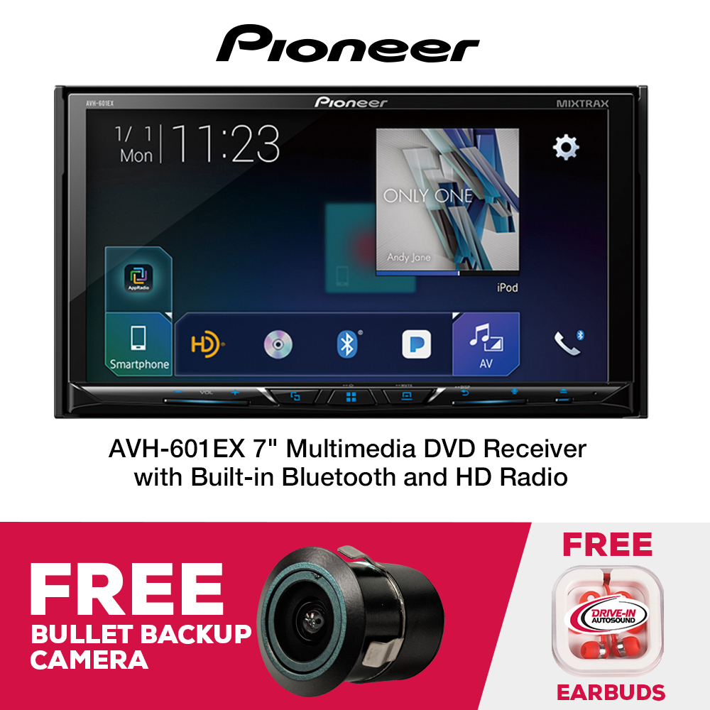 "Pioneer AVH-601EX Multimedia DVD Receiver with 7"" WVGA Display, Built-in Bluetooth, HD Radio Tuner, SiriusXM-Ready and AppRadio Mode, Remote Control, and free backup bullet camera Included."