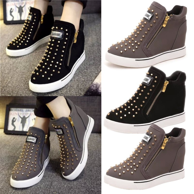Fashion Women High Top Rivet Wedge Heel Ankle Boots Booties Platform Sneakers