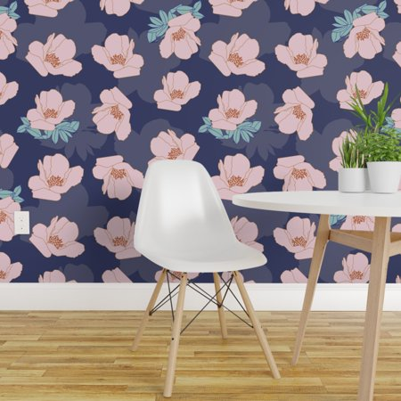 Wallpaper Roll Pink Floral Botanical Flower Garden Spring Nursery 24in