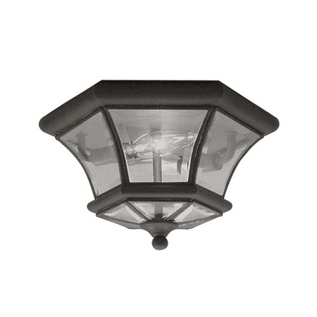 10.5 Inch Semi Flush - Semi Flush Mounts 2 Light With Clear Beveled Glass Bronze size 10.5 in 120 Watts - World of Crystal
