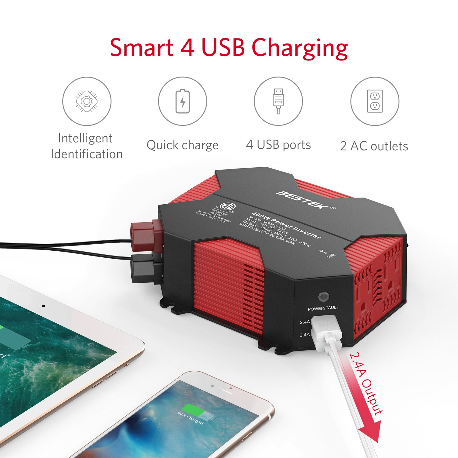 Car Power Inverter by BESTEK 400W Modified Sine Wave Inverter 4 USB Charging Ports DC 12V to AC 110V, MRI4011IU - image 4 of 8