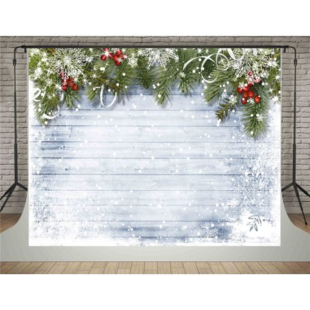 HelloDecor Polyster 5x7ft Christmas Photography Backdrops White Wood Wall Background with Snowflake Photo Backdrop - Snowflake Backdrop