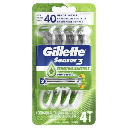 Gillette Sensor3 Sensitive Men's Disposable Razor, 4