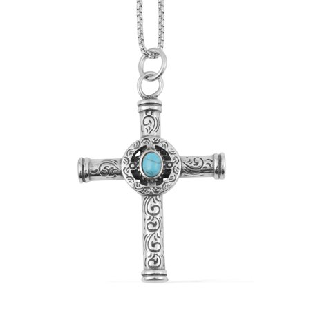 Women's Stainless Steel Oval Blue Howlite Cross Pendant with chain 24