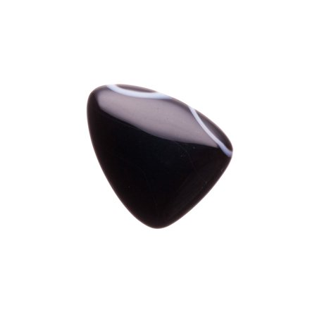 Black Rounded Long Triangle Pendant Natural Agate Half Drilled 24x30mm