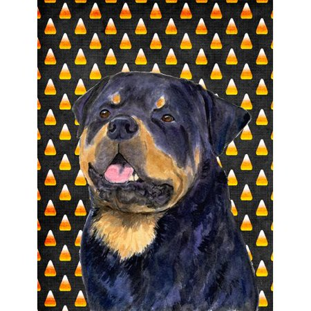 Rottweiler Candy Corn Halloween Portrait Flag
