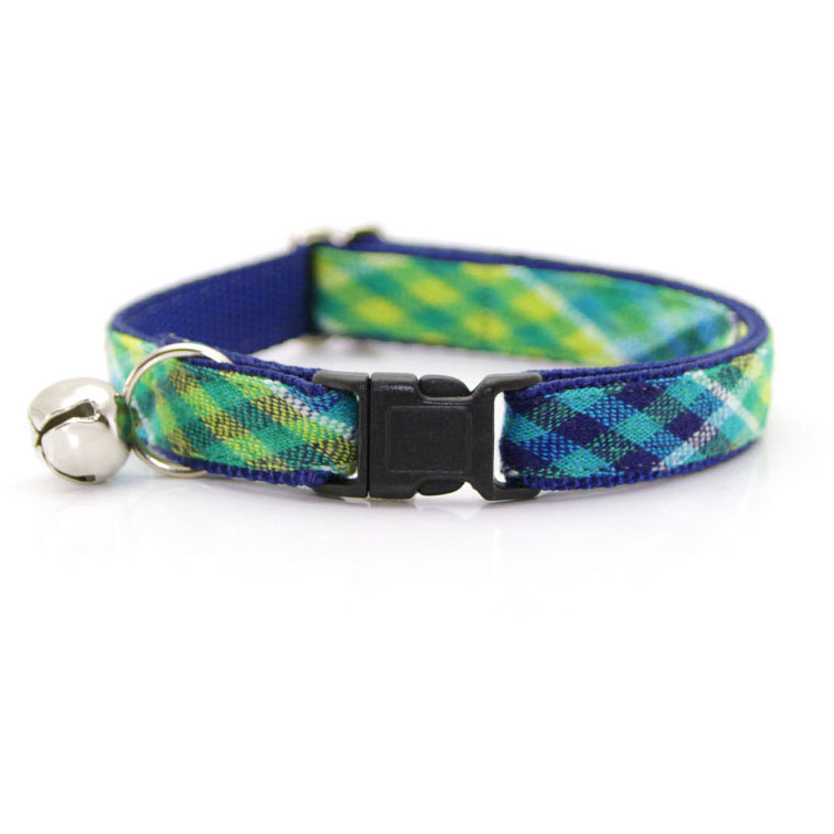 """Made By Cleo """"Oceanic"""" Madras Plaid Green Breakaway Cat Collar Adult Cat Size (Adjustable 8-13... by Made By Cleo"""