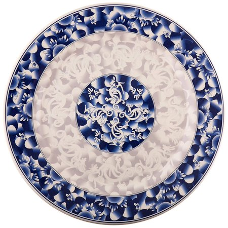 Thunder Group Rose Collection 12-Pack Plate, 11-3/4-Inch, Melamine, White Rose Collector Plate