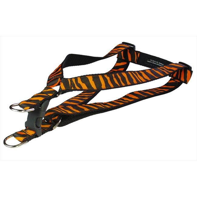 ZEBRA-TANGERINE-BLK.2-H Zebra Dog Harness, Tangerine & Black - Small