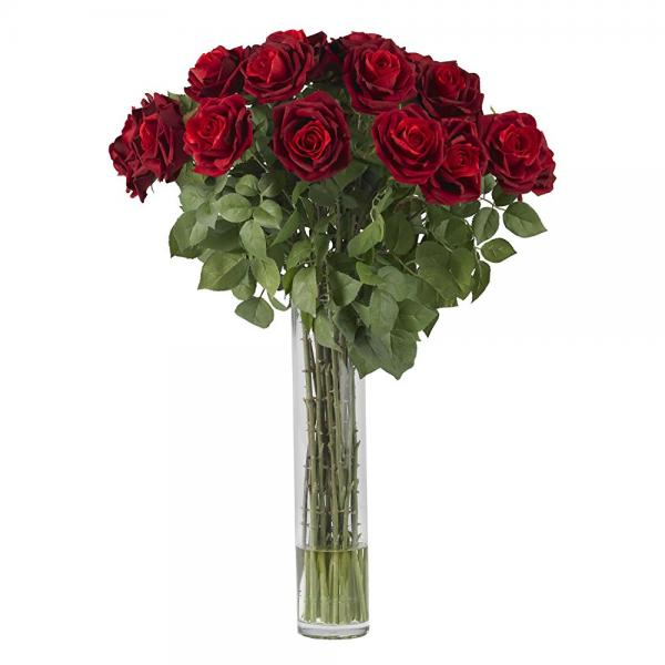 Nearly Natural 1215 rose silk flower arrangement, large, red
