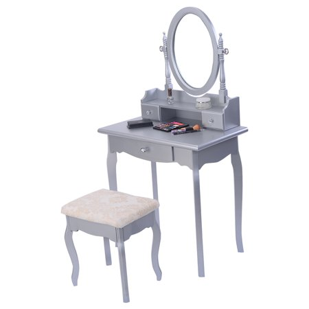 Costway silver vanity jewelry makeup dressing table set w for Silver vanity table