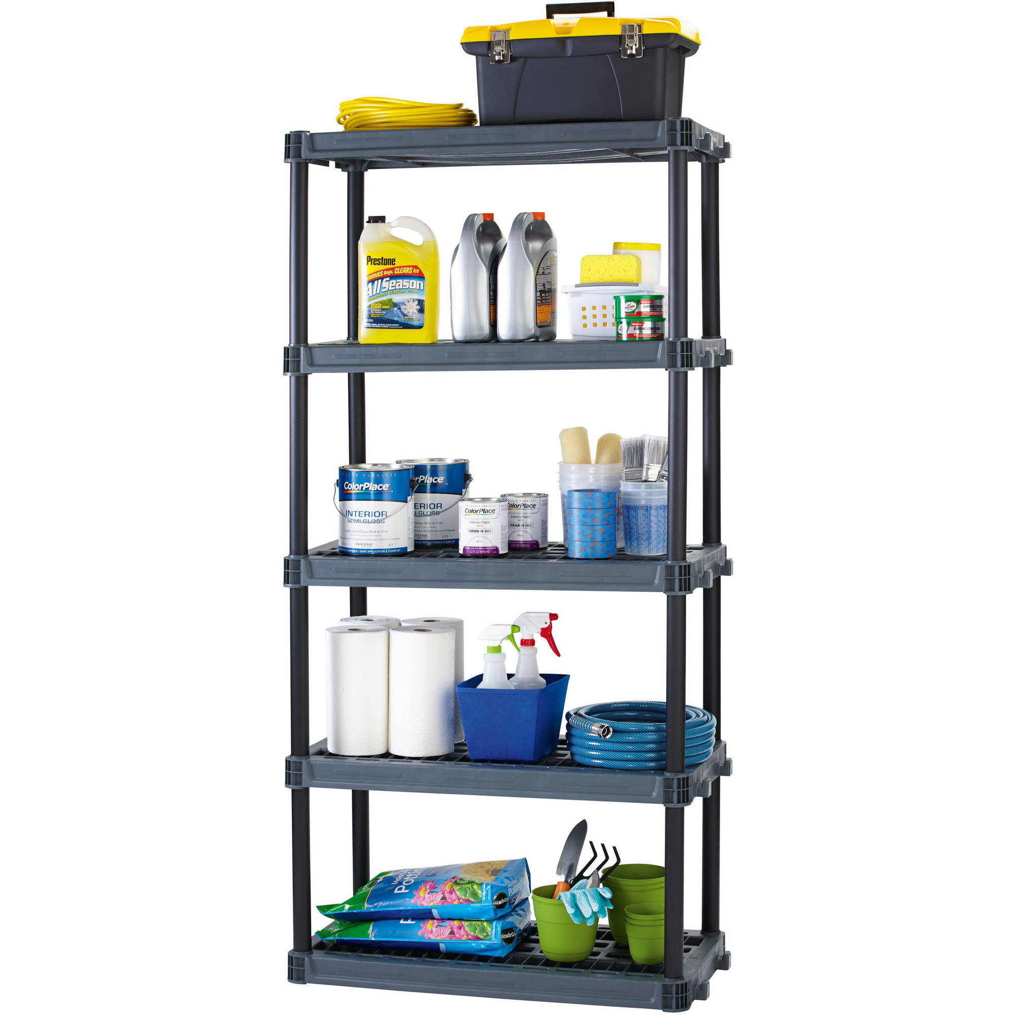 WorkChoice 5 Shelf Heavy Duty Plastic Storage Unit, Black   Walmart.com