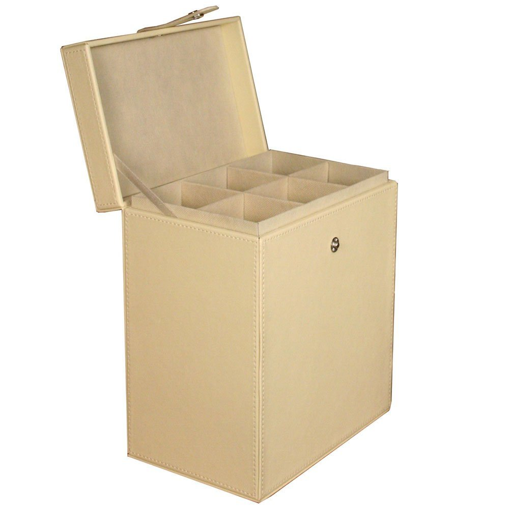 Tabletop Storage Faux Leather Champagne Flute Chest
