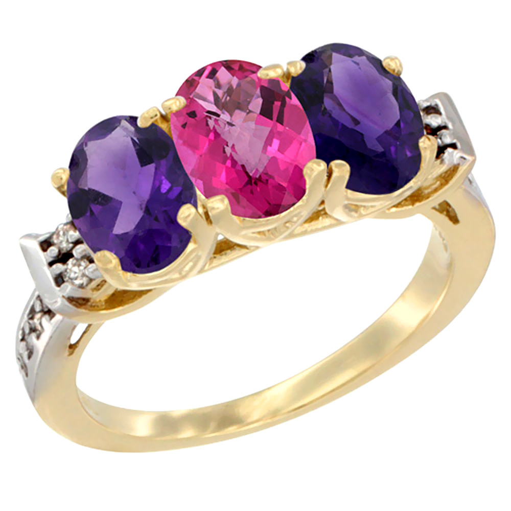 14K Yellow Gold Natural Pink Topaz & Amethyst Sides Ring 3-Stone 7x5 mm Oval Diamond Accent, sizes 5 10 by WorldJewels