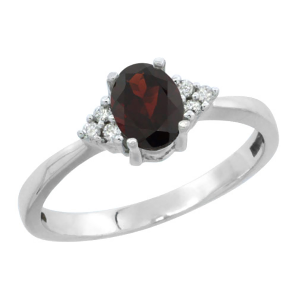 10K White Gold Natural Garnet Ring Oval 6x4mm Diamond Accent, sizes 5-10 by WorldJewels