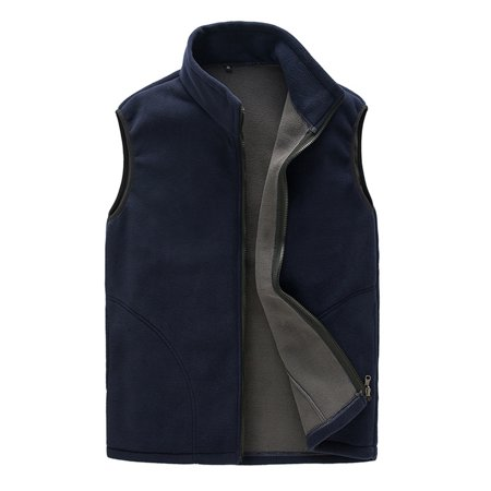 Men Warm Full Zip Casual Fleece Vest Outdoor Climbing Hiking Gilets Waist Coat (Mens Black Jacket Vest)