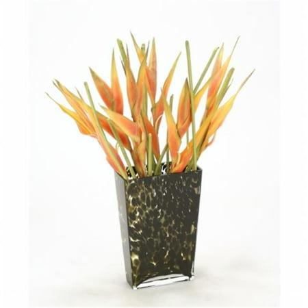 Distinctive Designs International 15739 Orange Heliconias in Leopard-Spotted Glass Vase Design Orange Fused Glass