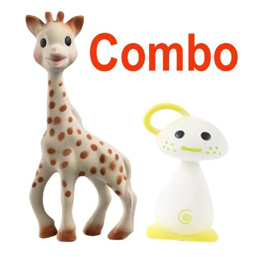 Vulli Sophie the Giraffe Teether Plus Vulli Chan Pie Gnon Soft Natural Rubber Teether - Comes In Gift Boxes, Yellow