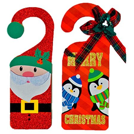 - Set of 2 Red Black Duck Brand Christmas Holiday Door Hangers -Santa, Snowman, Penguin, Gingerbread Man Designs (Red)