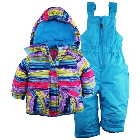 rugged bear baby girls snowflake stripes snowboard jacket snowsuit skisuit bib