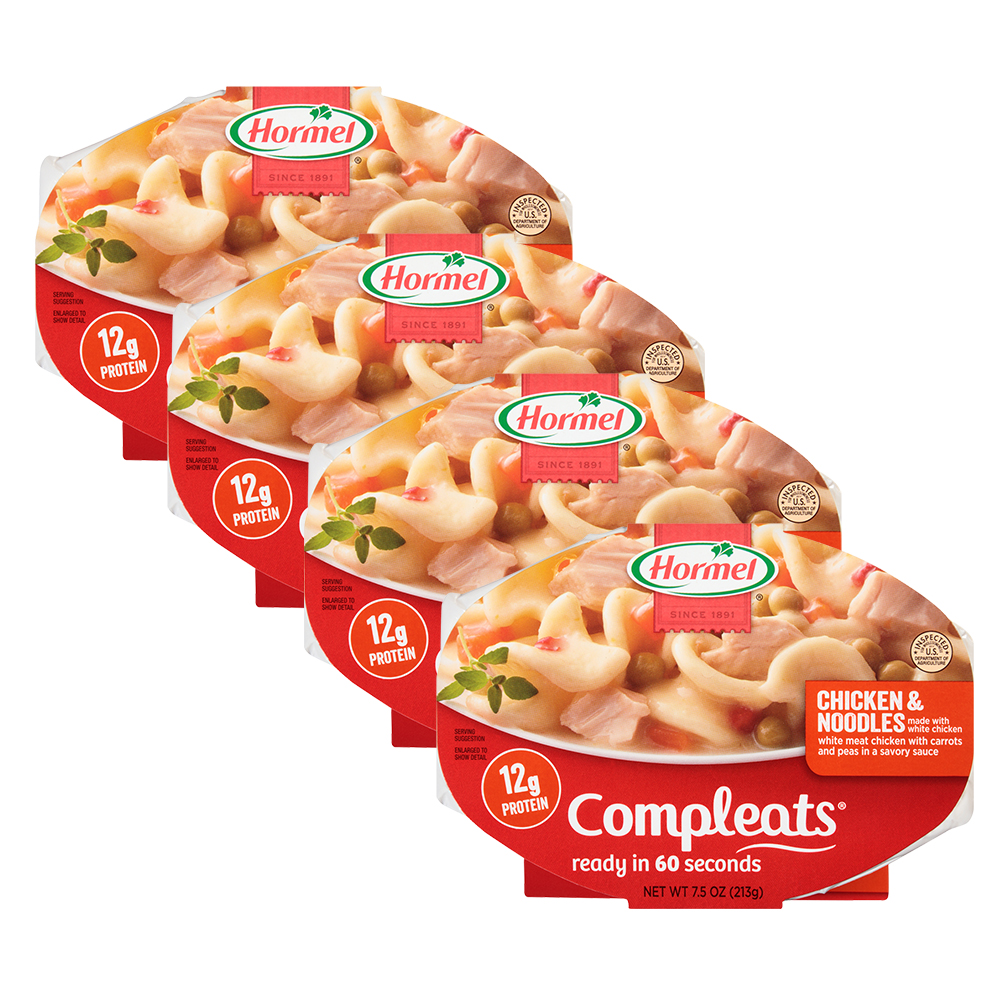 (4 Pack) Hormel Compleats Noodles & Chicken, 7.5 Ounce