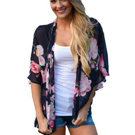Chiffon Kaftan - Women Cardigan Floral Print Kimono Loose Chiffon Tops Blouse Shirt Shawl Cover up Kaftan Beachwear Beachwear