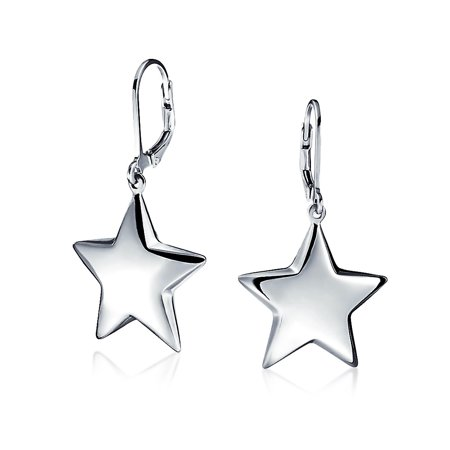 Patriotic Celestial Supper Star Dangle Leverback Earrings For Women For Teen Graduation 925 Sterling - Patriotic Earrings
