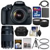 Canon EOS Rebel T5 Digital SLR Camera Body & EF-S 18-55mm IS II with 75-300mm III Lens + 32GB Card + Case + Battery + Tripod + Kit Canon EOS Rebel T5 Digital SLR Camera + EF-S 18-55mm IS II Lens <br>EOS performance made simple. Perfect for families, budding photo enthusiasts and first-time SLR users alike, the <b>Canon EOS Rebel T5 Digital SLR Camera</b> makes it easy to capture movies and photos that are nothing short of dazzling. It features a powerful <b>18.0 Megapixel CMOS (APS-C) image sensor</b> and Canons <b>DIGIC 4 Image Processor</b> for easy recording of HD video and high-resolution photos and has a <b>huge 3.0-inch LCD screen</b> for Live View recording and review. With a <b>63-zone, Dual-layer metering system</b>, an expanded ISO range for outstanding operation in less-than-perfect light, shooting modes like <b>Scene Intelligent Auto</b> to take the guesswork out of complex shots plus creative options like Canons Basic+ function and Creative Auto, the EOS Rebel T5 is ready for anything. With a <b>helpful Feature Guide</b>, rugged, lightweight construction and proven Canon design, the EOS Rebel T5 makes EOS SLR photography faster and easier than ever! This outfit includes the <b>Canon EF-S 18-55mm f/3.5-5.6 IS II</b> <b>Lens</b>. It is a lightweight general-purpose zoom lens that is ideal for handheld photography in a wide range of lighting conditions. Offering high optical quality, the lens features 11 element, 9 group construction, including one aspherical element for crisp corner-to-corner detail. The lens maintains a closest focusing distance of just 25cm throughout the zoom range, giving photographs the flexibility to frame up close when needed. <br><br><b>Key Features:</b><br> <b>18.0 Megapixel CMOS (APS-C) Sensor:</b><br> The EOS Rebel T5 has an 18.0 Megapixel CMOS sensor that captures images with exceptional clarity and tonal range, and offers more than enough resolution for big enlargements or crops -- your photos can be printed and framed without having to worry about quality. This first-class sensor is APS-C sized for an effective 1.6x field of view (compared to 35mm format) and features many of the same new technologies as used by professional Canon cameras to maximize each pixels light gathering, helping to ensure images are captured beautifully and brilliantly. <b><br><br>DIGIC 4 Image Processor:</b><br> The DIGIC 4 Image Processor on the EOS Rebel T5 dramatically speeds up camera operations, offering an intuitive shooting experience and providing images full of detail and natural color reproduction. It works in concert with the cameras 18.0 Megapixel CMOS sensor to achieve phenomenal levels of performance in virtually every situation, so you can shoot without having to worry about camera processes. <br><br><b>EOS Full HD Movie:</b><br> The EOS Rebel T5 offers easy-to-use video capture with breathtaking Full HD quality that is difficult for a smartphone to match. Capable of shooting in a number of recording sizes and frame rates, the EOS Rebel T5 offers outstanding video capturing performance, quality and simplicity - simply press the dedicated Live View/Movie Recording button to get started shooting. Additionally, the EOS Rebel T5 enables easy manual control of exposure, focus and Live View features and even allows for in-camera editing. And with a wealth of over 60 interchangeable lenses available to choose from, your video has plenty of creative options. <b><br><br>Video Snapshot:</b><br> With the Video Snapshot feature, the EOS Rebel T5 will capture short video clips (of 2, 4 or 8 seconds) then combine them automatically into one video file as a snapshot or highlights album. With no editing needed after shooting, the compiled video is perfect for sharing online or displaying directly on an HDTV via the cameras HDMI port. <b><br><br>Scene Intelligent Auto mode:</b><br> The EOS Rebel T5 features Scene Intelligent Auto mode, which incorporates a number of Canon technologies to dRebel T5 features Scene Intelligent Auto mode, which incorporates a number of Canon technologies to deliver the best possible exposure, simply.