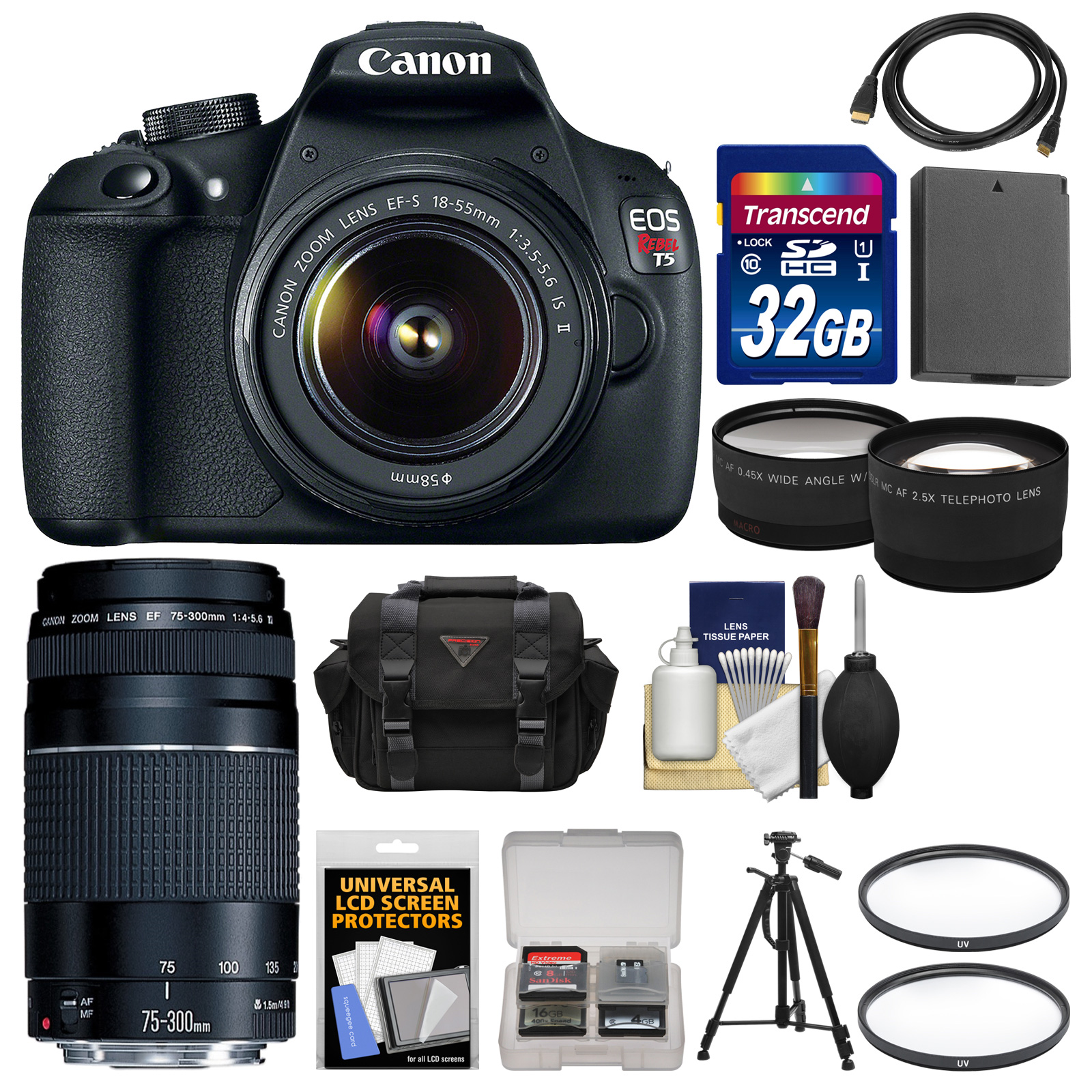 Canon EOS Rebel T5 Digital SLR Camera Body & EF-S 18-55mm IS II with 75-300mm III Lens   32GB Card   Case   Battery   Tripod   Kit