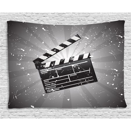 Movie Theater Tapestry, Clapper Board on Retro Backdrop with Grunge Effect Director Cut Scene, Wall Hanging for Bedroom Living Room Dorm Decor, 60W X 40L Inches, Grey Black White, by Ambesonne - Halloween Town Movie Theater Scene