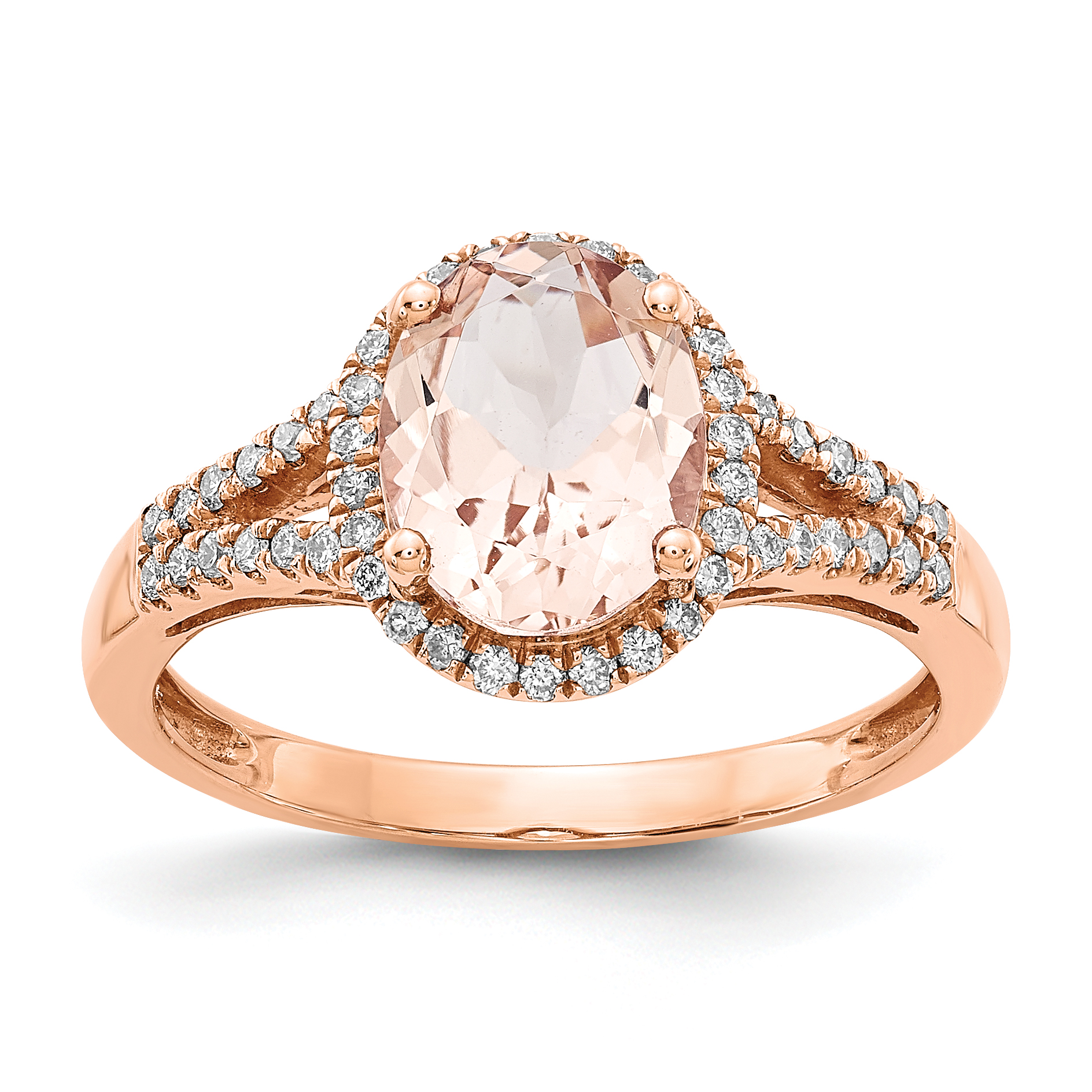 14kt Rose Gold Pink Morganite Diamond Band Ring Size 7.00 Fine Jewelry For Women Gift Set by IceCarats Designer Jewelry Gift USA
