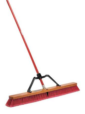 Libman Red Recycled PET Duty Push Broom with Handle, 1101 by LIBMAN