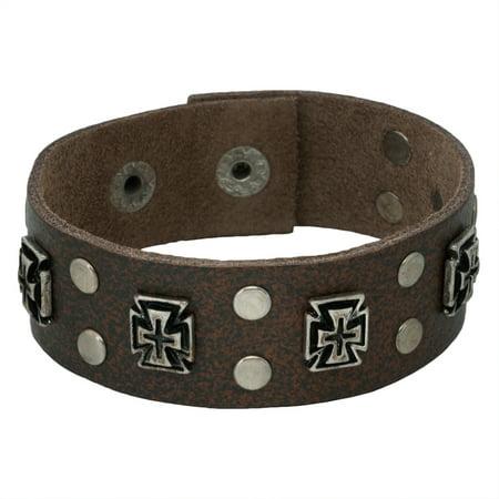 Cross Studded Brown Leather Cuff Bracelet